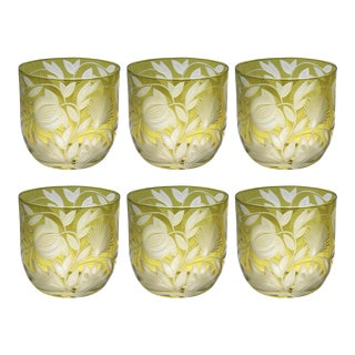 Verdure Whiskey Glasses, Set of 6, Olive For Sale