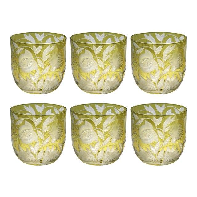 Verdure Whiskey Glasses, Set of 6, Olive For Sale