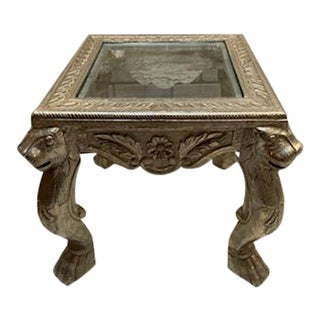 1960s Victorian Style Figural Ornate Metal Side Table For Sale