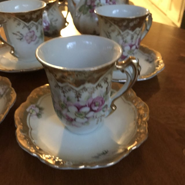 1950s Stunning, 1960s Hand Painted Prussia Floral Chocolate Set, Reduced For Sale - Image 5 of 13