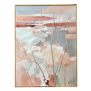 Vintage Painting Abstract Waterscape Landscape 1979 For Sale