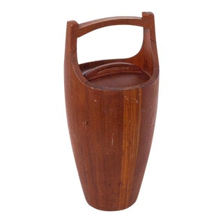 "Danish Modern Jens Quistgaard for Dansk 19"" Teak Ice Bucket For Sale"