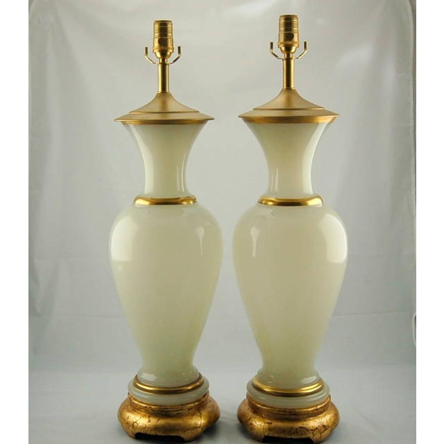 Hollywood Regency Vintage Murano Opaline Glass Table Lamps White Gold For Sale - Image 3 of 8