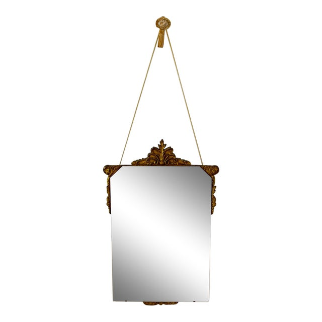 Vintage Wood Carved Golden Tone Wall Mirror For Sale
