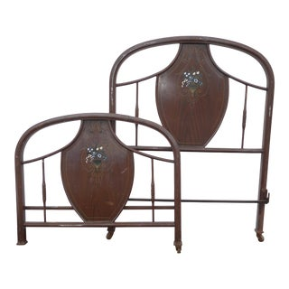Antique French Style Twin Headboard & Foot Board As-Is For Sale