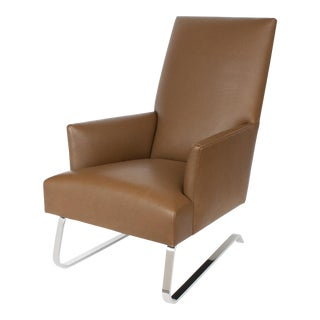 Donghia Odeon Leather Lounge Chair For Sale