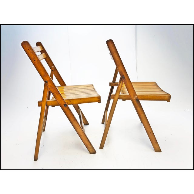 Vintage Rustic Slat Wood Folding Chairs - Set of 4 For Sale - Image 9 of 13