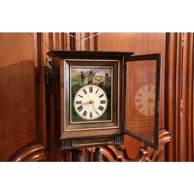 19th Century French Napoleon III Hand-Painted Wall Clock With Hunt Scene For Sale In Dallas - Image 6 of 13