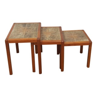 1970s Vintage Danish Modern Teak Nesting Tables- 3 Pieces For Sale