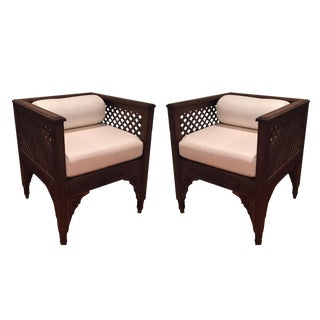 1990s Moroccan White Upholstered Wood Side Chairs - a Pair