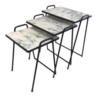 1970s Mid-Century Modern Wrought Iron Nesting Tables - Set of 3 For Sale