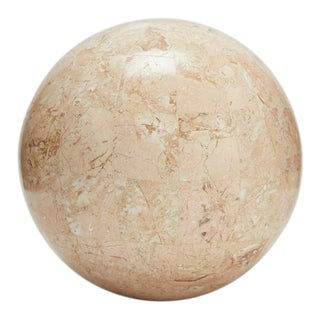 1990s Vintage Tessellated Peach Stone Sphere - 5.5 In. Diameter For Sale