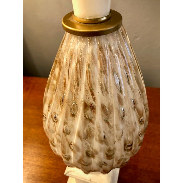 Alabaster Mid Century Italian Murano Glass and Alabaster Table Lamp in the Style of Marbro For Sale - Image 8 of 13