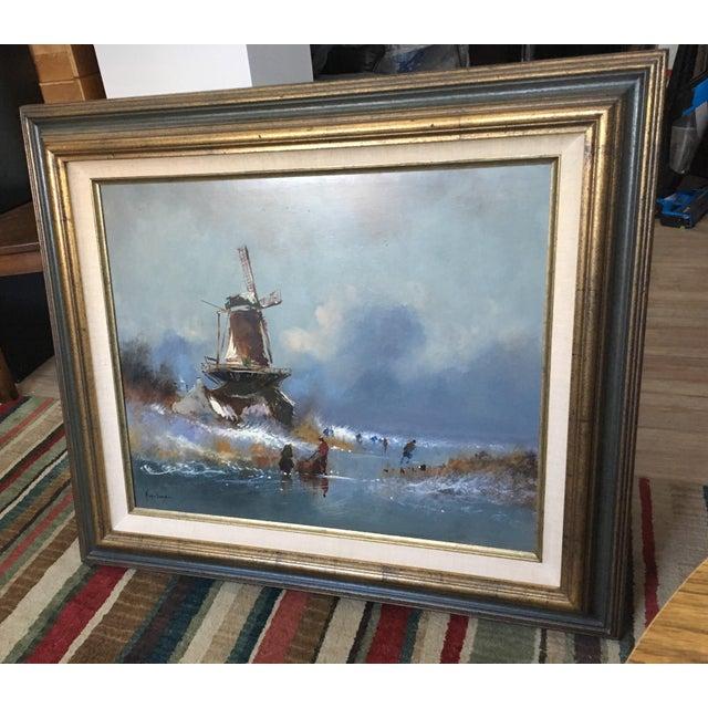 Dutch Windmill On Frozen Pond By Harrij Van Dongen - Image 4 of 10