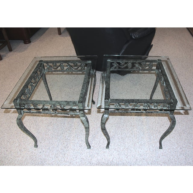 Iron and Glass Side Tables - A Pair - Image 2 of 4