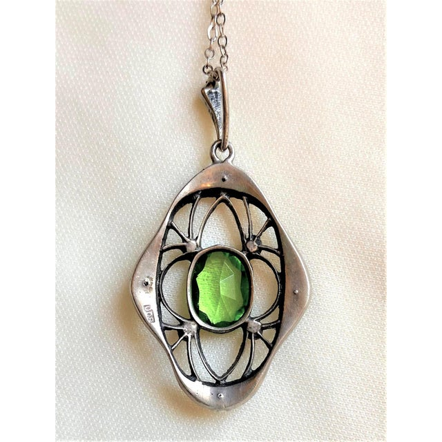 1910s Antique 800 Silver and Peridot Paste Lavaliere Pendant Necklace For Sale In Los Angeles - Image 6 of 8