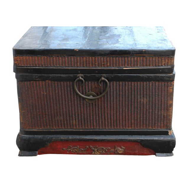 Vintage Wooden Chinese Trunk For Sale - Image 4 of 4