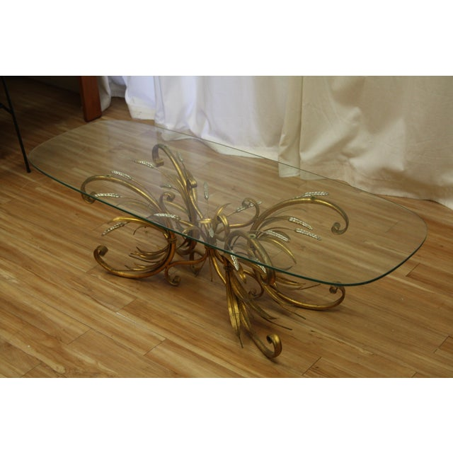 Vintage Gold Gilt Flower Wheat Sheaf Coffee Table For Sale In Seattle - Image 6 of 7