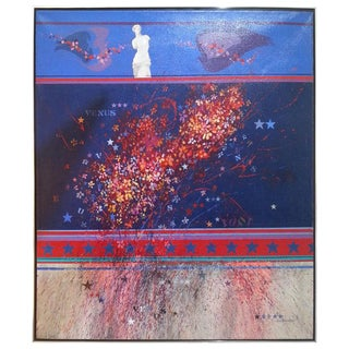 "Oil Painting on Canvas ""Venus & 1001 Starry Nights"" by Fred Samuelson 1970 For Sale"