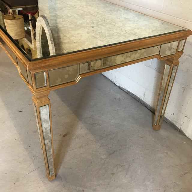 Antiqued Mirrored Dining Table With Gold Leaf Trim For Sale - Image 9 of 10