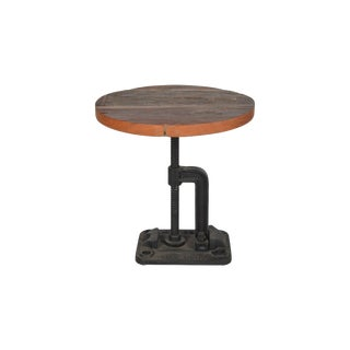 "Emmy Wooden End Table With Metal Base for Living Room, Rustic Side Table, Brown Color, 16.30"" H For Sale"
