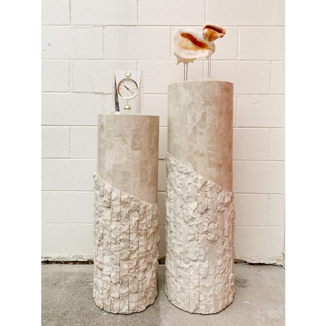 Art Deco Late 20th Century Maitland Smith Tessellated Marble Over Wood Pedestals- a Pair For Sale - Image 3 of 5