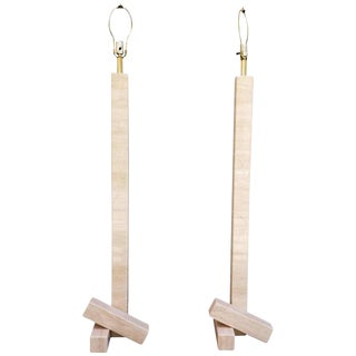 Pair of Marble Travertine Floor Lamps For Sale