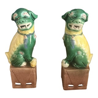Small Porcelain Foo Dogs - a Pair