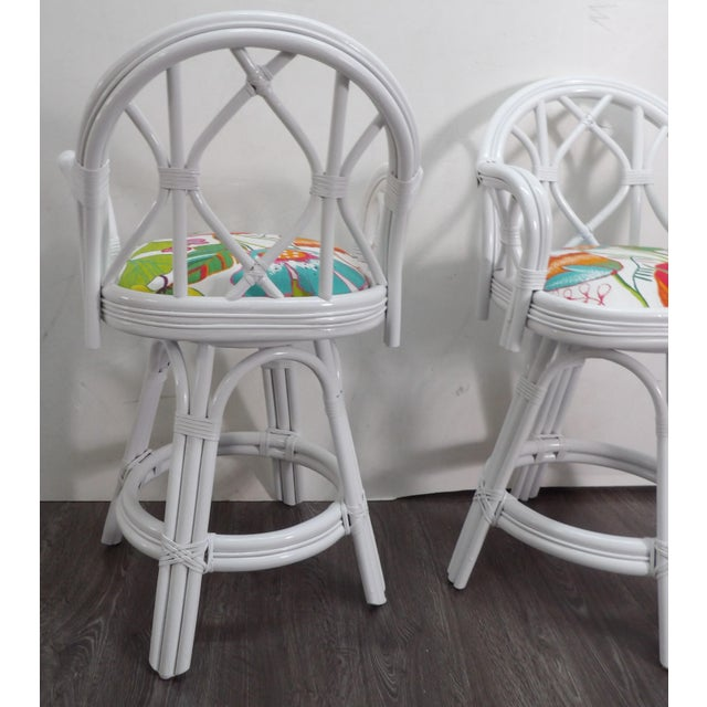 Mid 20th Century Bamboo Swivel Counter Stools-a Pair For Sale - Image 4 of 7