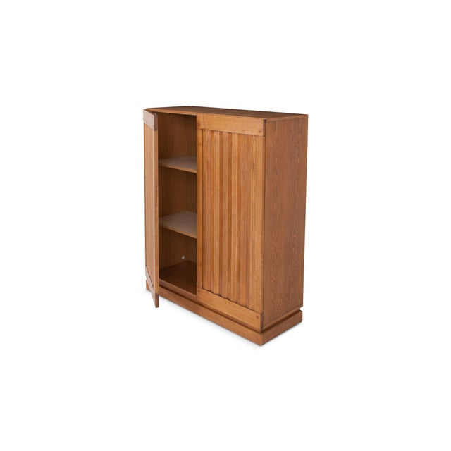 1970s Minimalist Natural Oak Bar Cabinet For Sale - Image 5 of 12
