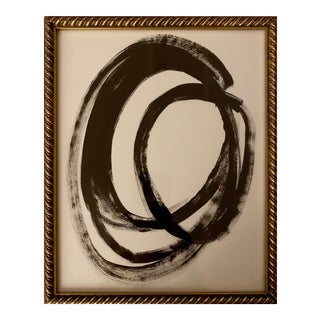 Original Abstract Black and White Painting in Vintage Braided Gold Frame For Sale