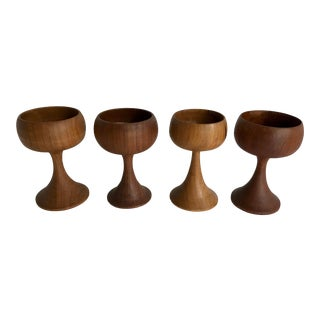 Vintage Mid-Century Modern Teak Wood Hand Turned Drinking Wine Goblets - Set of 4 For Sale