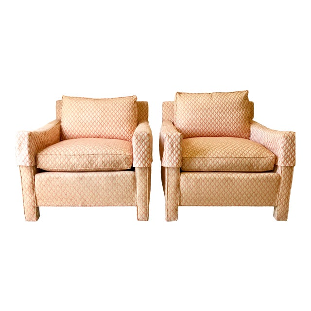 Mid-Century Down Upholstered Armchairs- A Pair For Sale