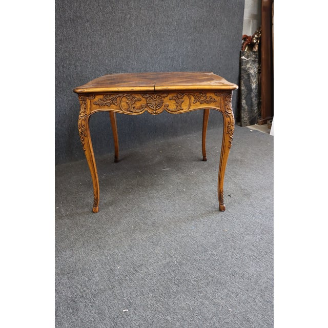 Henredon Henredon Louis XV Style Carved Fruitwood Parquetry Dining Table For Sale - Image 4 of 10