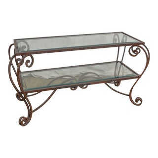 Tuscan Style Custom Wrought Iron 2 Tier Glass Top Console Table For Sale