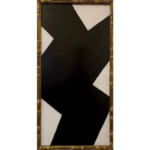 Contemporary Black and White Acrylic Painting, Framed For Sale