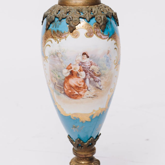 French Country Blue French Antique Porcelain Table Lamp For Sale - Image 3 of 4