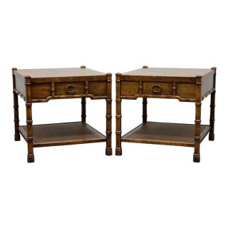 Drexel Heritage Asian Inspired Faux Bamboo End Tables - Pair For Sale