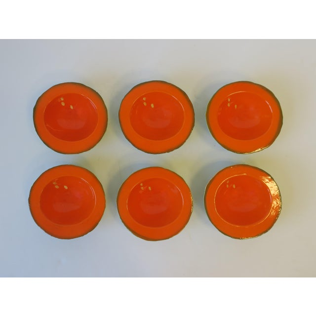 Italian Designer Matte Ceramic Pottery Orange Melon Fruit Sculpture Bowls For Sale - Image 4 of 9