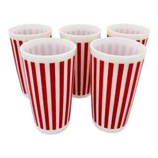 Set Vintage Red & White Stripe Milk Glass Tumblers For Sale
