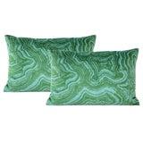 "Image of 12"" X 18"" Malachite Velvet Lumbar Pillows - a Pair For Sale"
