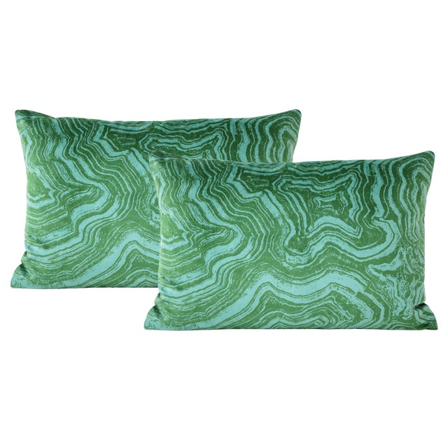 "12"" X 18"" Malachite Velvet Lumbar Pillows - a Pair For Sale"