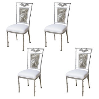 Faux Bamboo Silver Leaf Metal Chairs, Hollywood Regency , Set-4 For Sale