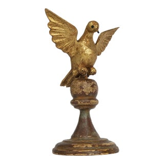 Carved Wood Bird/Dove Sculpture on Finial For Sale
