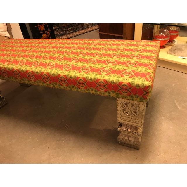Early 21st Century Custom Long Bench With Hand-Chased German Silver Legs and Custom Fabric For Sale - Image 5 of 9