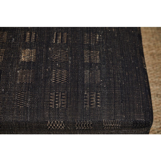 Handwoven Indian Fabric Upholstered Ottoman For Sale - Image 9 of 10
