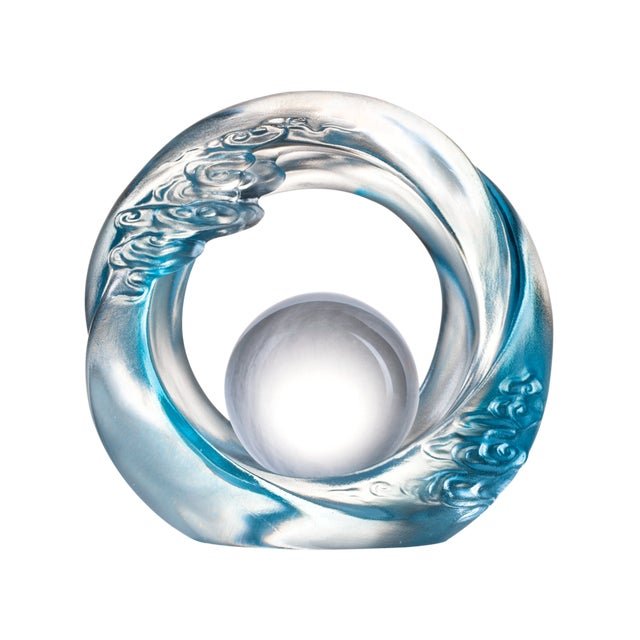 """Contemporary Crystal Cloud """"Generating Ruyi Through the Ether"""" Feng Shui Desk Sculpture in Sky Blue For Sale - Image 3 of 3"""