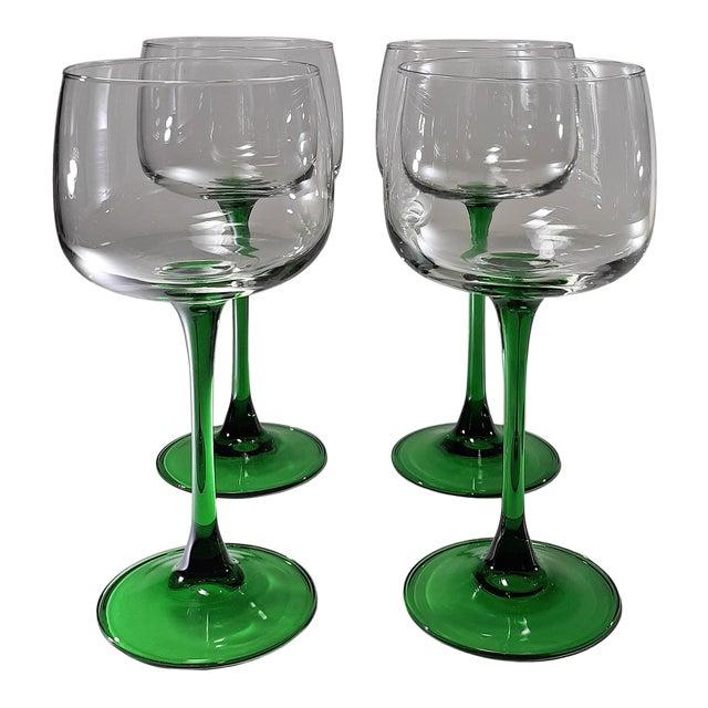 Vintage French Green Stem Wine Glasses - Set of 4 For Sale