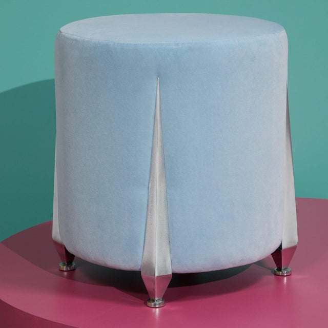 Silver The Iris Stool by Talisman Bespoke For Sale - Image 8 of 10