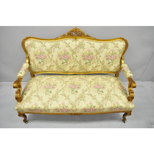 1920s Vintage French Louis XV Style Gold Gilt Settee For Sale - Image 10 of 10
